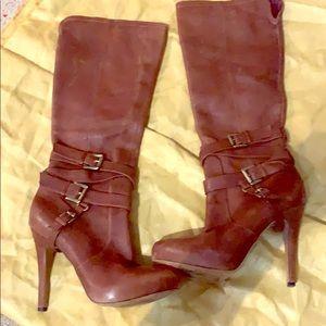 High Heeled Brown Leather Booths -  Sam Edelman